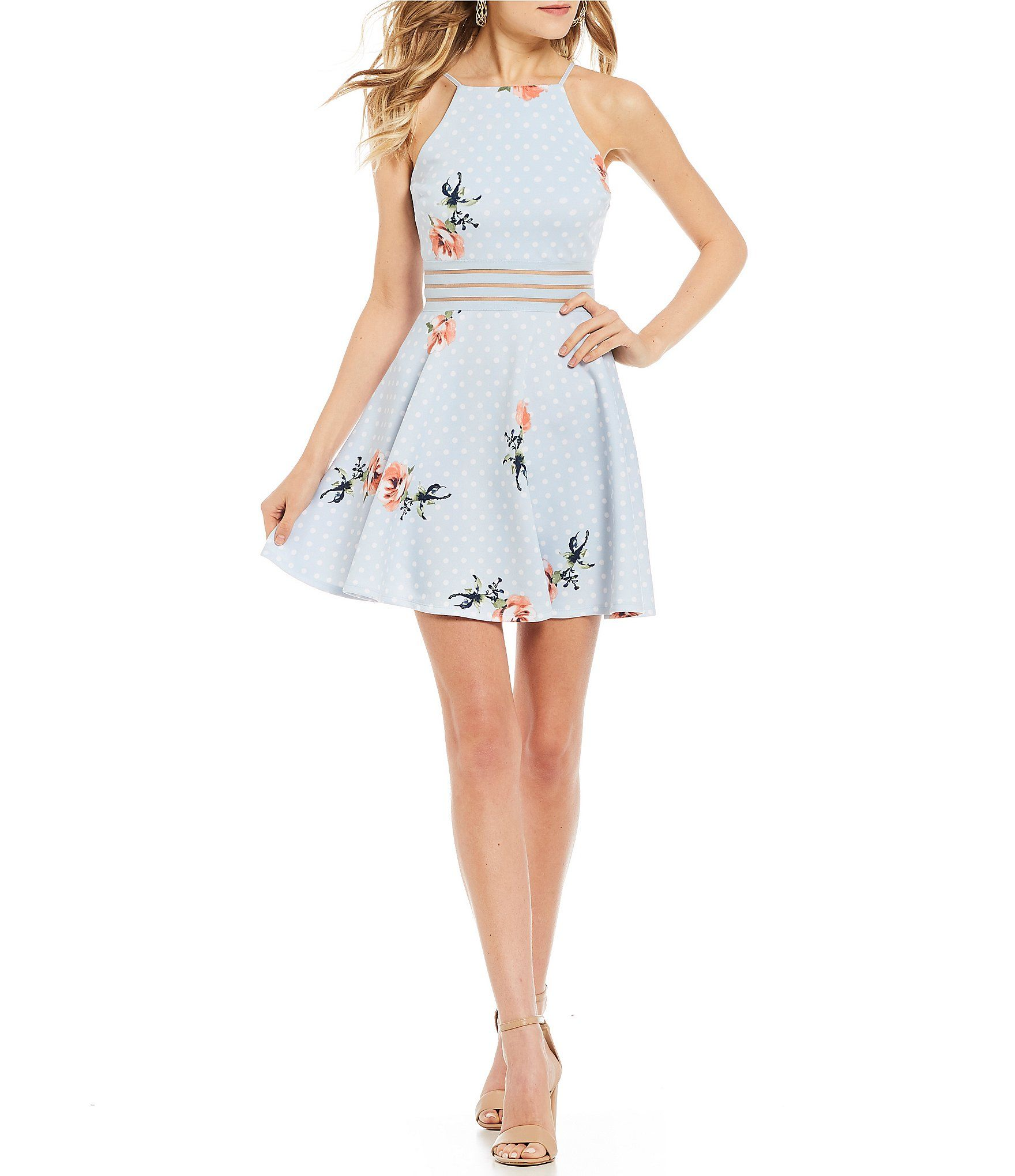8e0a19a1e9 Jodi Kristopher Dot and Floral Print FitAndFlare Dress  Dillards ...