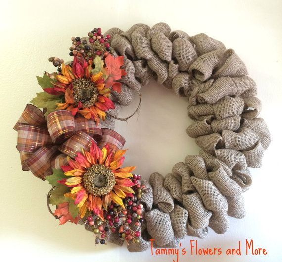 Fall burlap wreath by TammysFlowersandmore on Etsy