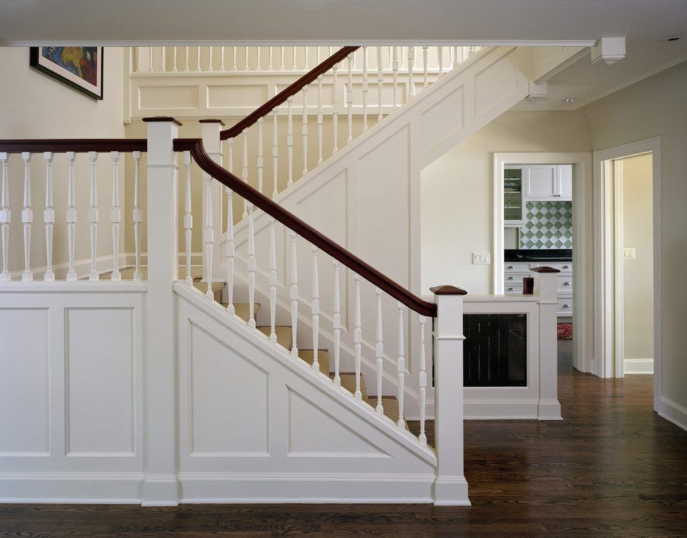 Staircase Trim Ideas Staircase Traditional With Hardwood Floors White Spindles White Railing  (990×776) | Moulding | Pinterest