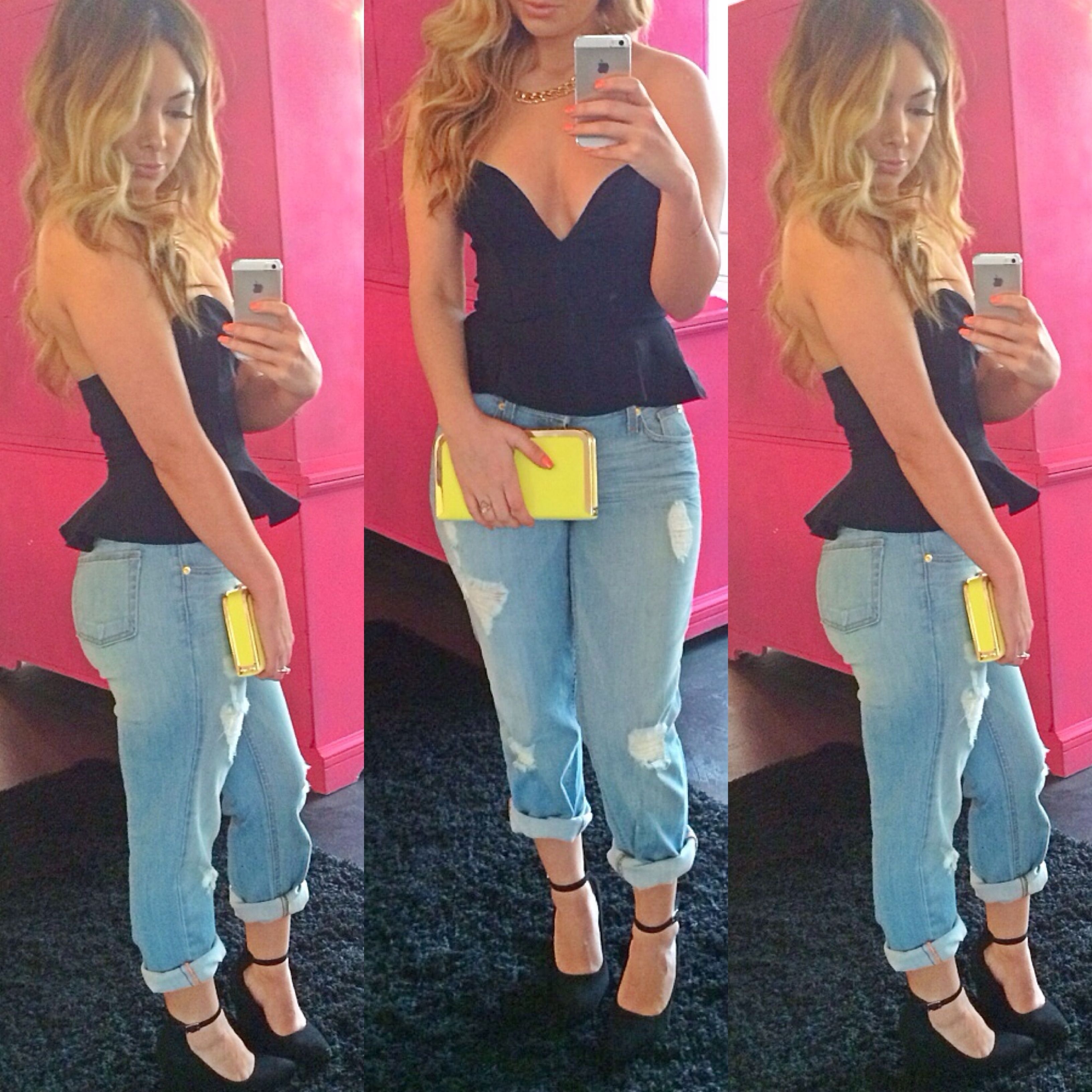 Boyfriend jeans peplum tops cute outfit ootd hot for Outfit ideas for dinner party