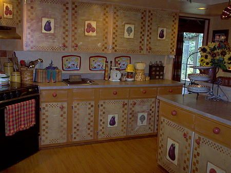 Country Kitchen With Decoupaged Veggies, How To Decoupage Kitchen Cabinets