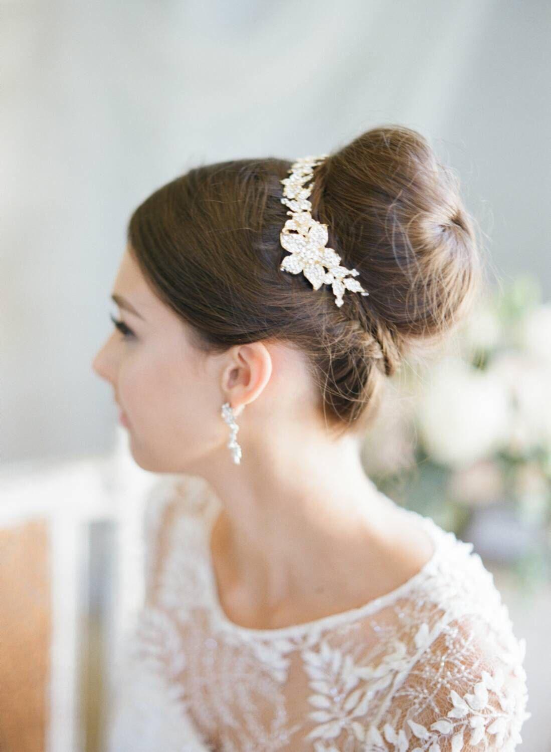 swarovski bun wrap, bridal hair vine, crystal wedding hair pin