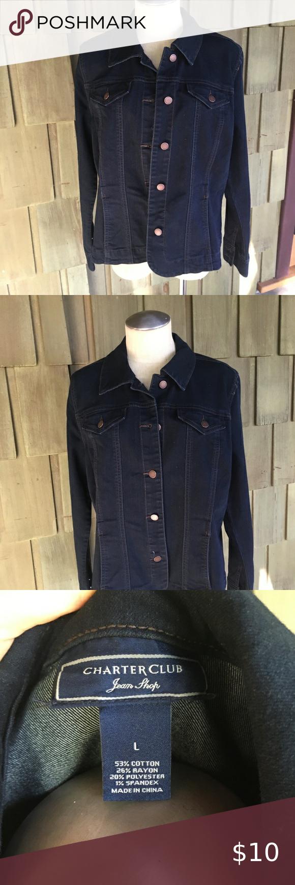 Charter Club Cobalt Dark Denim Blue Jean Jacket In 2020 Dark Denim Blue Jean Jacket Blue Denim [ 1740 x 580 Pixel ]