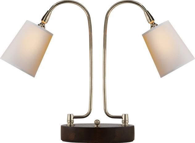 L Arc Twin Arm Task Lamp In Polished Nickel And Dark Walnut Base With Natural Paper Shade 2cmxl Dulles Elec Table Lamp Desk Lamp Design Office Lamp Design
