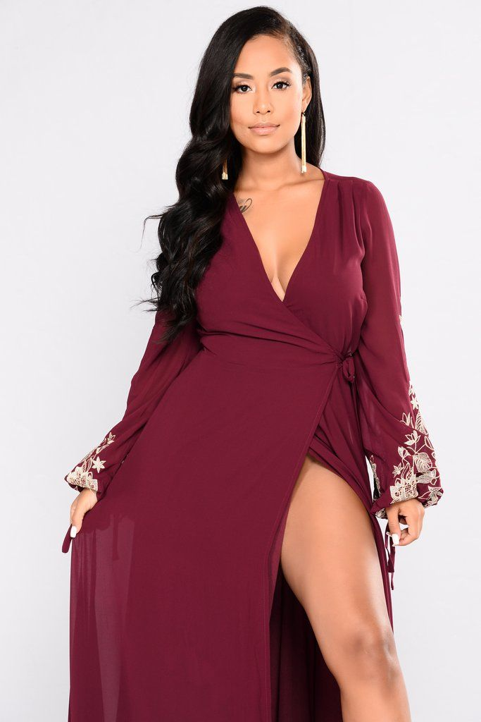 2ad42935e2c Trophy Wife Embroidered Dress - Wine