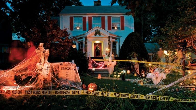 Give your yard and porch a spooky makeover this October Halloween - outdoor halloween decorations