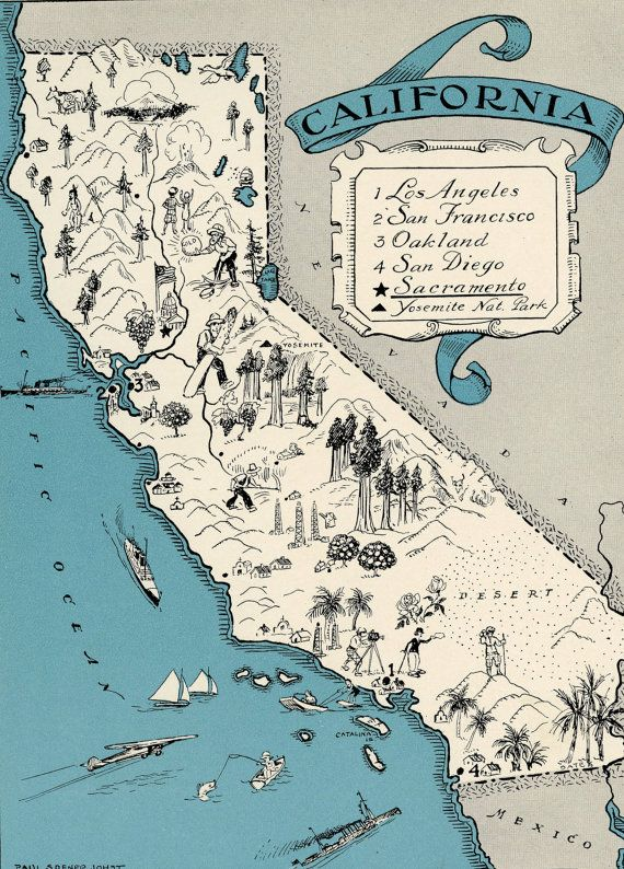 ORIGINAL California Map 1931 Vintage Picture Map Antique Map