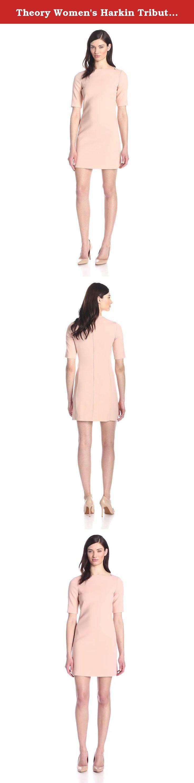 Theory Women's Harkin Tribute 3/4 Sleeve Shift Dress, Cameo, 12. 3/4 sleeve.