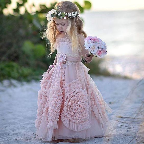 Blush Modern Flower Dress Lovely Birthday Party Dresses Fgd841