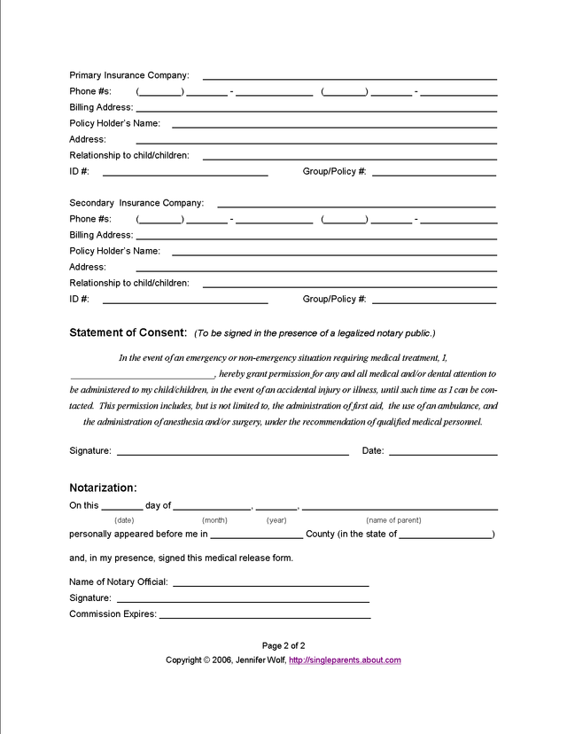 Medical Release Form Grandparents  Learning