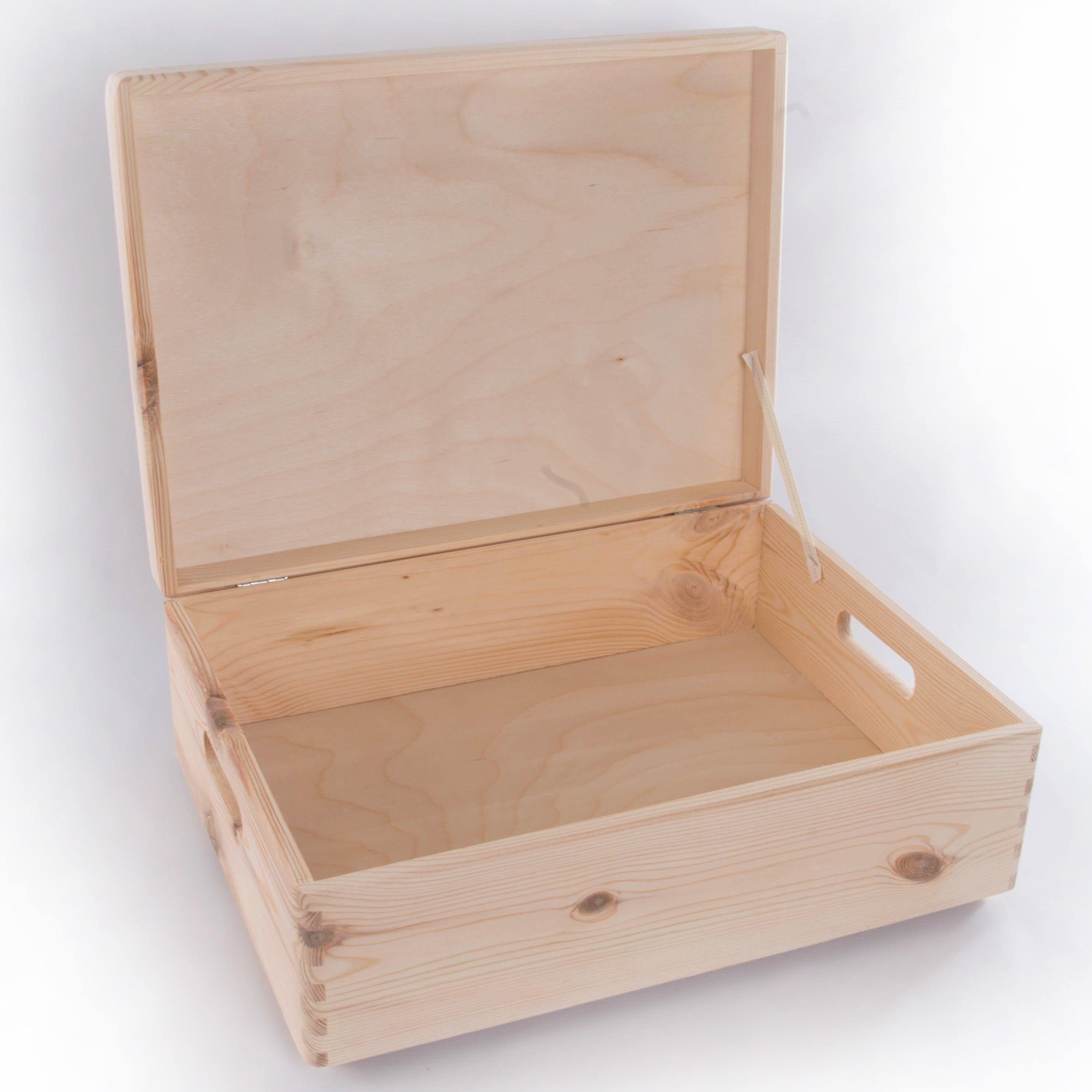 Large Wooden Storage Box Plain Wood Box With Lid Crate Etsy Wooden Storage Boxes Wooden Storage Storage Boxes With Lids