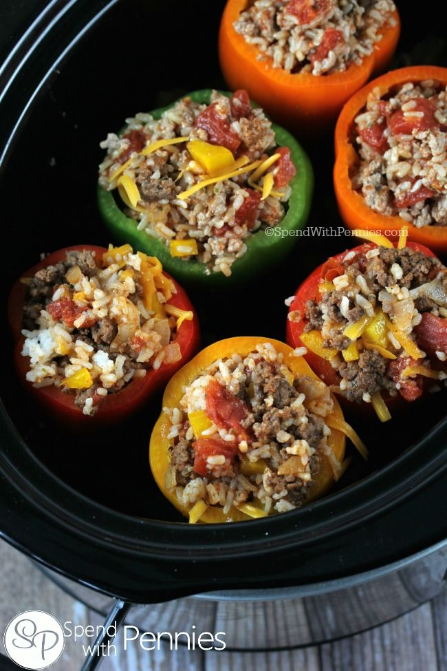 Crock Pot Stuffed Peppers Spend With Pennies Slow Cooker Stuffed Peppers Crockpot Stuffed Peppers Stuffed Peppers