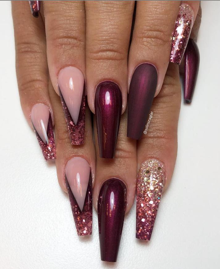 Burgundy Ombre Nails : burgundy, ombre, nails, Burgundy, #elegant, #acrylic, #coffin, #design, #ombre, #nails, #short, #long, #page, #of46, Elega…, Acrylic, Nails,, Rhinestone, Coffin, Nails, Designs