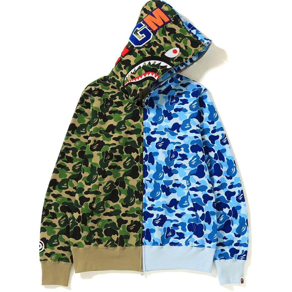 Bape Abc Separate Shark Full Zip Hoodie Green Blue Bape Cloth Bape Outfits Bape Hoodie Hoodies [ 1024 x 1024 Pixel ]