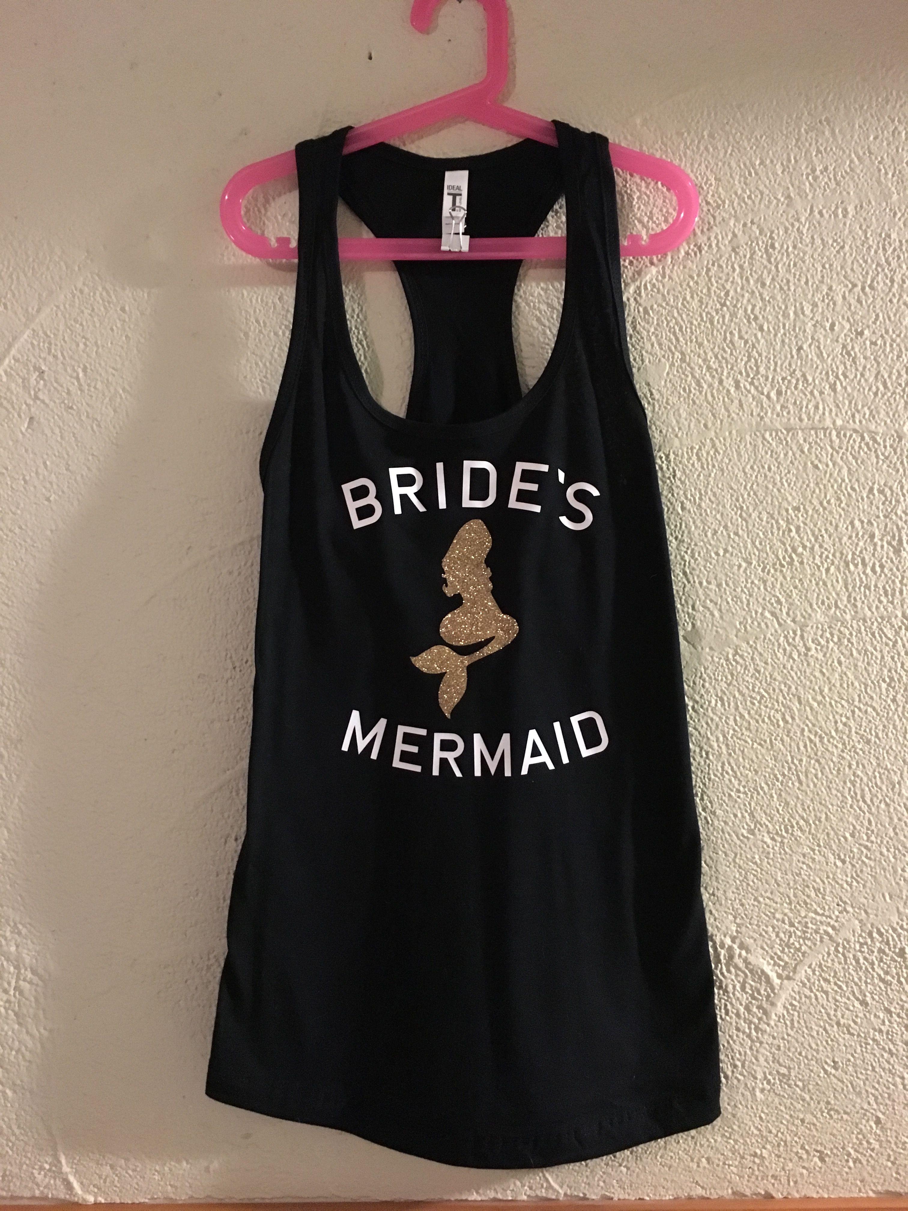 Brides mermaid custom tank, bridal party custom tank tops