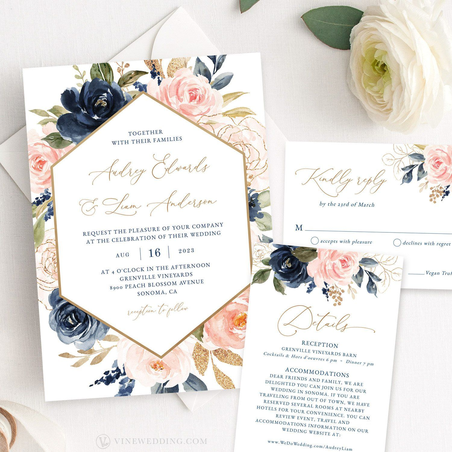 Navy And Pink Floral Wedding Invitation Set Printable Wedding Etsy Floral Wedding Invitations Wedding Invitation Cards Wedding Invitation Card Template
