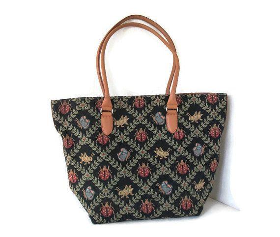 Vintage Talbots Tapestry Tote Handbag Leather By Weelambievintage