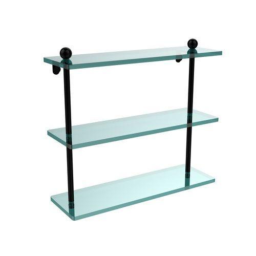 Matte Black 16 x 5 Triple Glass Shelf - (In Matte Black) Glass