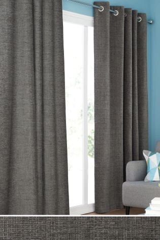 French Grey Textured Chenille Eyelet Curtains Curtains Lined Curtains Curtains With Blinds
