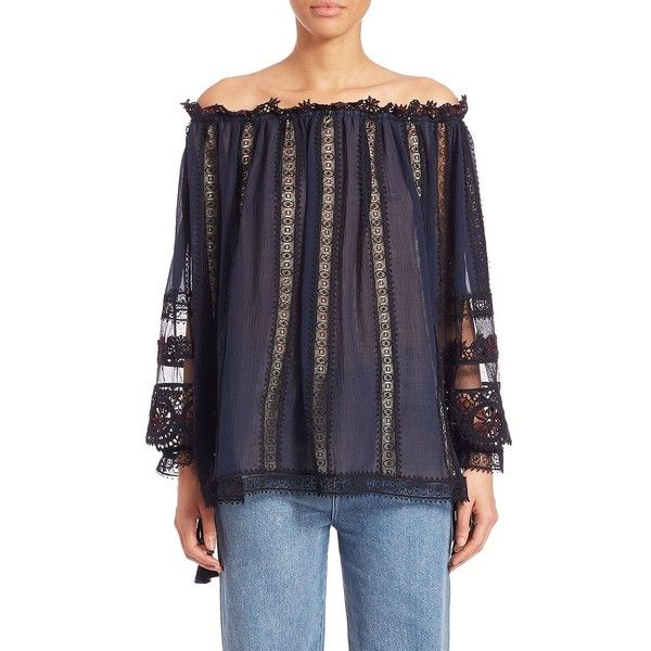 Chloe Lace-Trim Off-The-Shoulder Blouse (10.370.255 COP) ❤ liked on Polyvore featuring tops, blouses, apparel & accessories, navy, tie blouse, blue lace blouse, off the shoulder tops, blue lace top and navy blue top