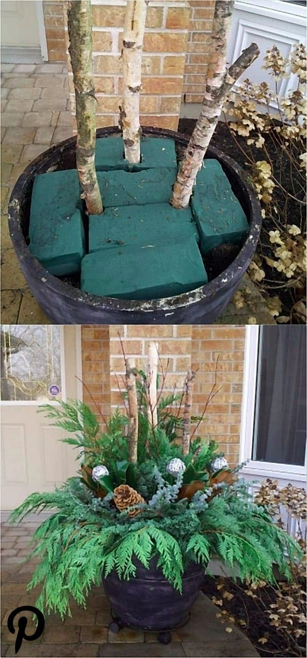 24 Colorful Winter Planters  Christmas Outdoor Decorations  Planters  Ideas of Planters  How to create colorful winter outdo