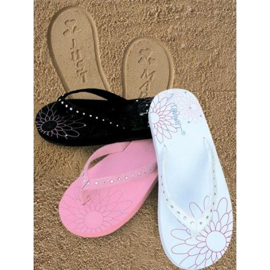 Just Married Sparkly Flip Flop