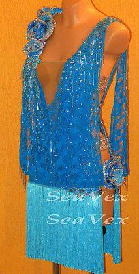 Ballroom Ramba Cha Cha Latin Dance Dress US 8 UK 10 Skin Blue Lace Fringing Bead
