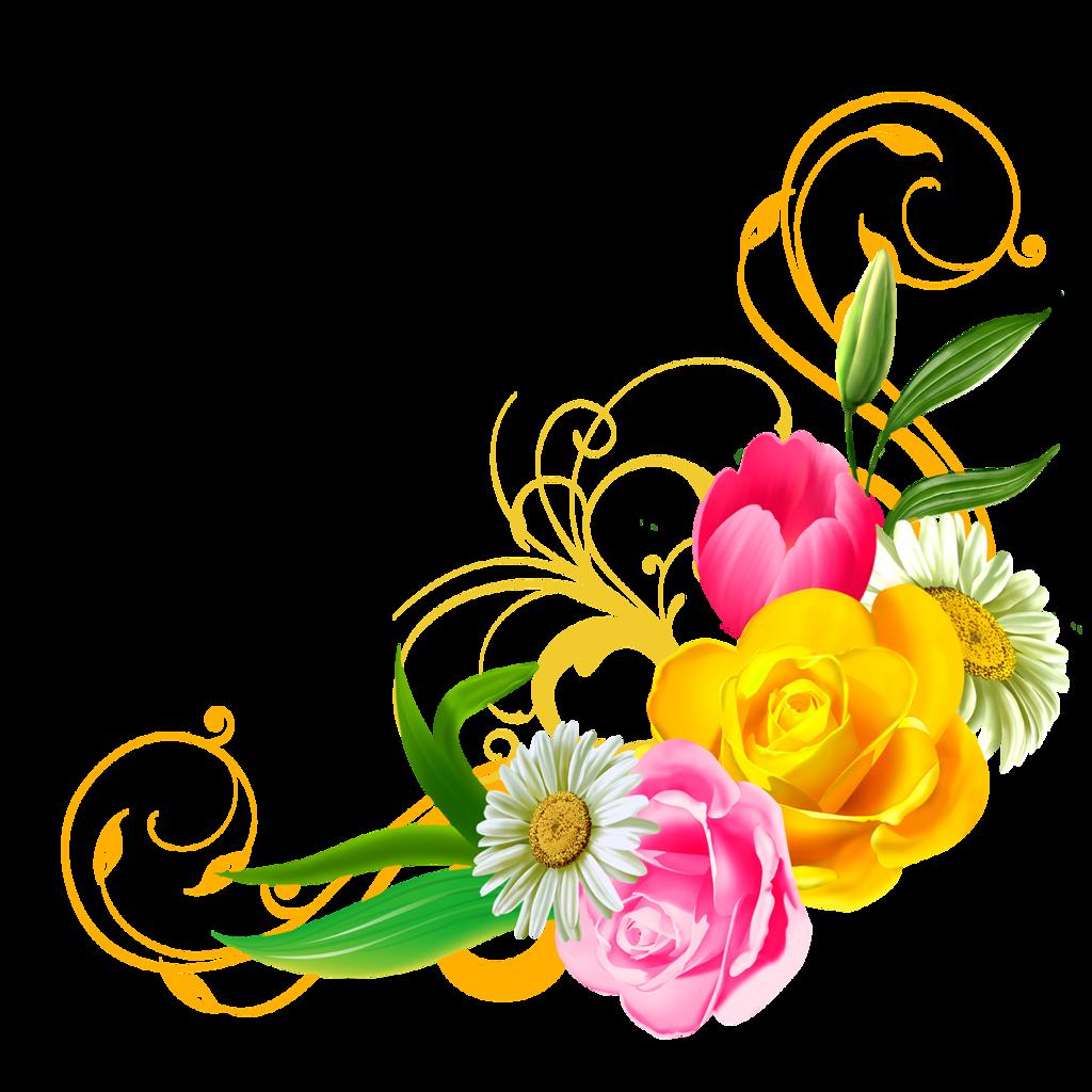 Днем, угловые цветы на открытку