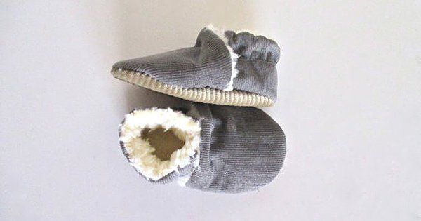 Etsy find of the day – grey corduroy winter baby shoes