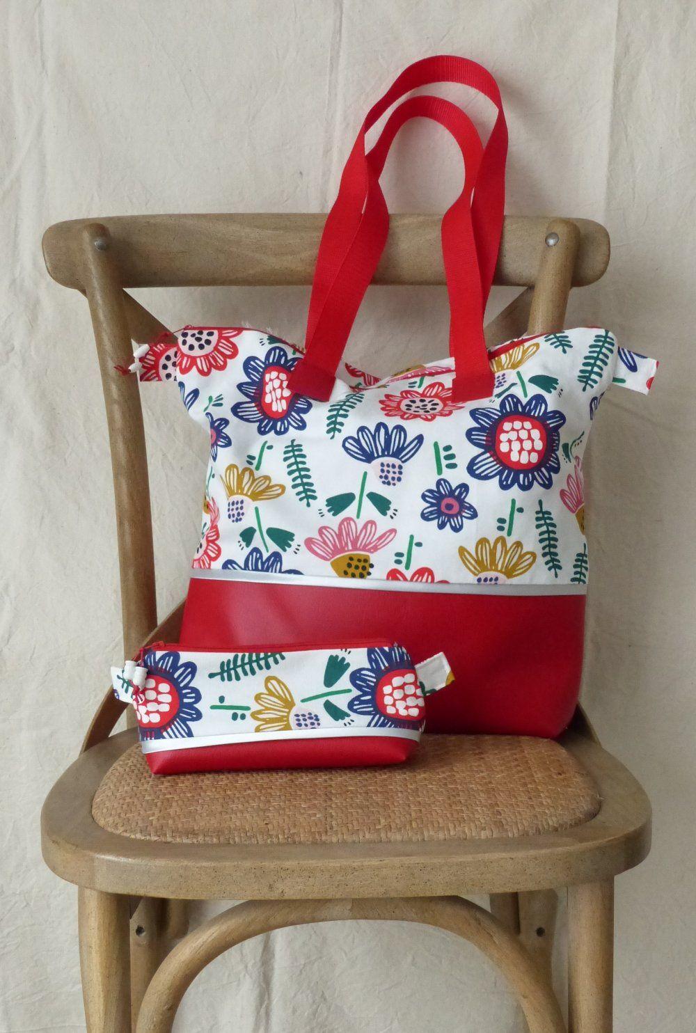2fd384b6e5 Sac cabas ou tot bag,tissu fleuri et simili cuir rouge,anse rouge ...