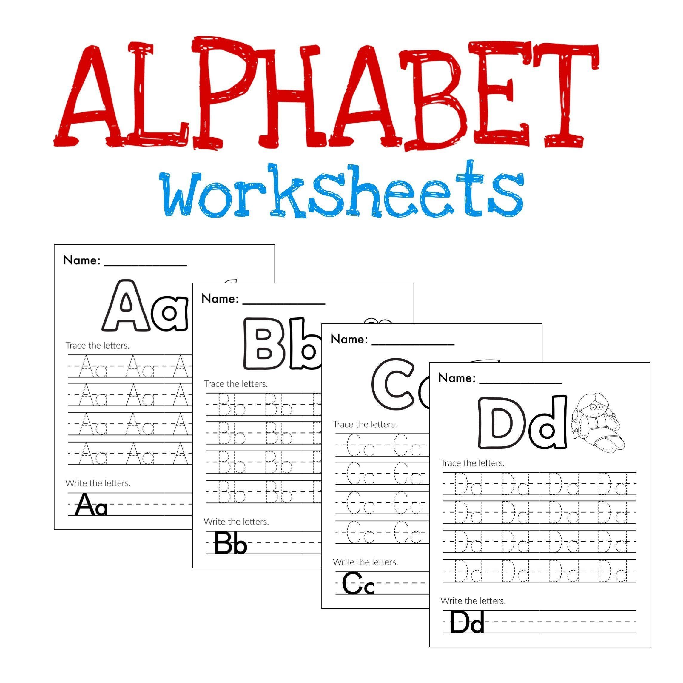 Alphabet Worksheets Tracing Letters Preschool Learning