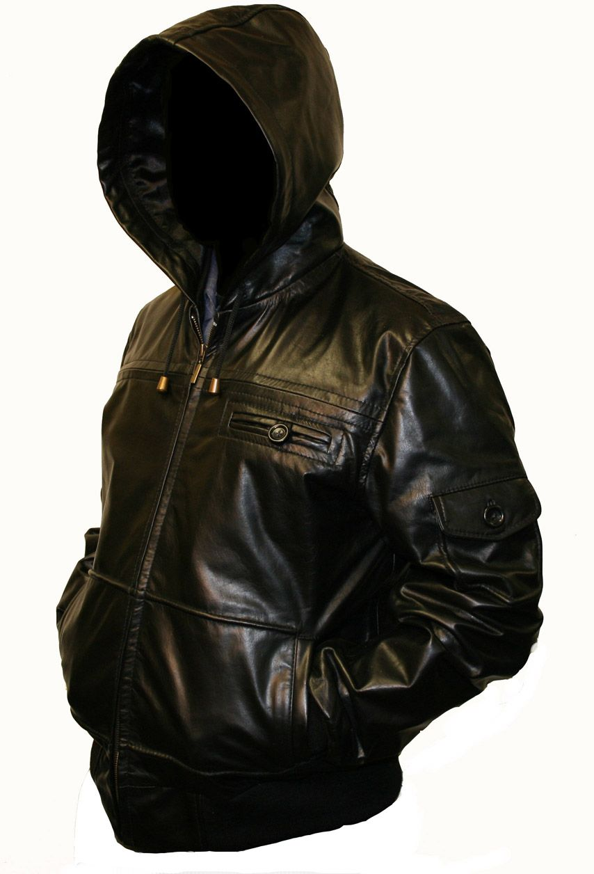 Men's Hooded Leather Jacket | Hooded Leather Jacket in ...