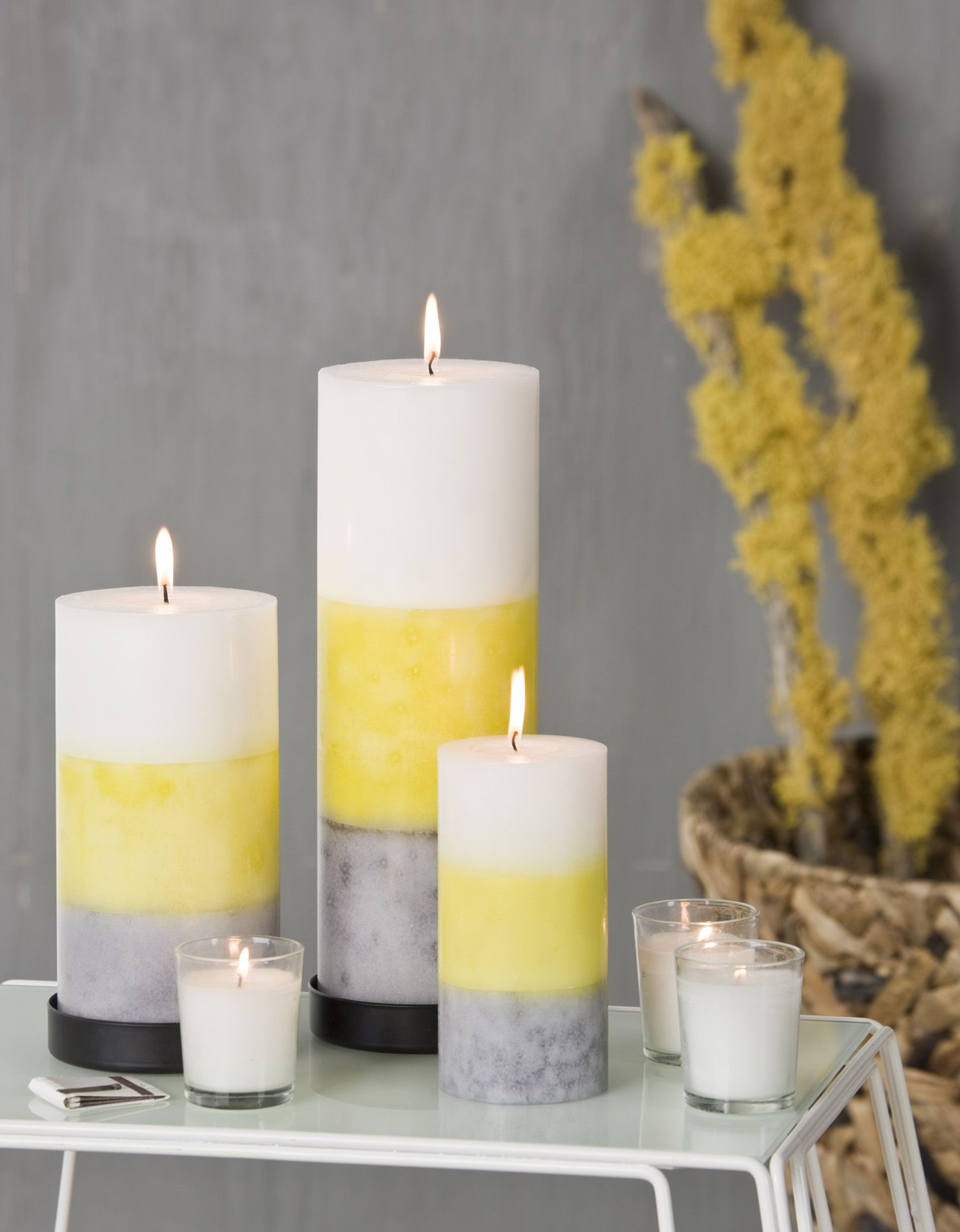 Decorative Candle Holders Pillar Candles In Shades Of Grey Citron And White Blissliving