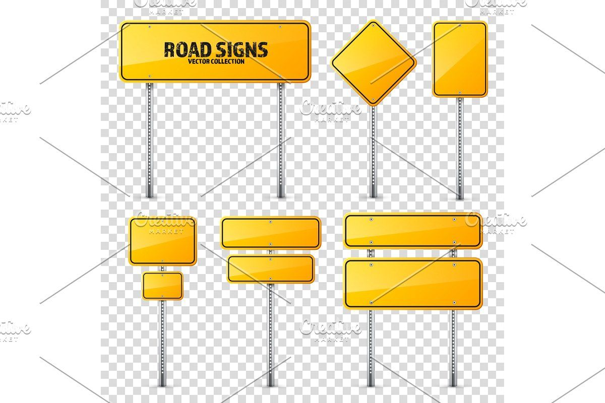 Road Yellow Traffic Sign Blank Board With Place For Text Mockup Isolated Information Sign Direction Vector Illustration Spons Traffic Signs Signs Traffic