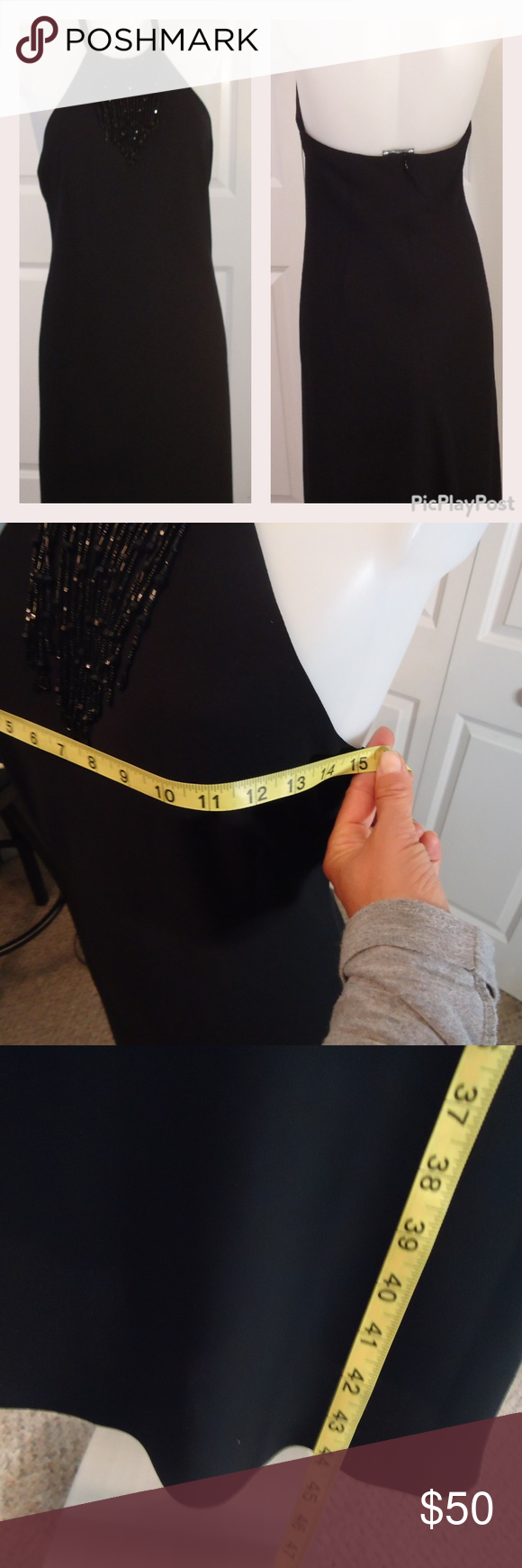 EVAN PICONE DRESS All black open back halter neck beaded collar designer cocktail dress by EVAN PICONE Excellent condition..this has.no stretch! Hidden zipper down the back. Fabulous little black fancy cocktail dress. Excellent quality Ask if you need any measurements. Evan Picone Dresses Backless #backlesscocktaildress