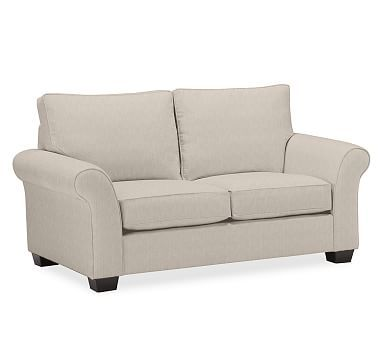 PB Comfort Roll Arm Upholstered Love Seat, Box Edge Down Blend Wrapped Cushions, Sunbrella(R) Performance Sahara Weave Oatmeal