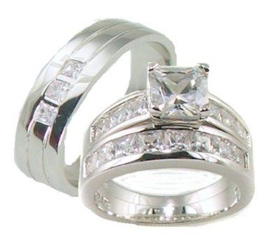 His Her 3 Piece Wedding Ring Set White Gold Ep Sterling Silver