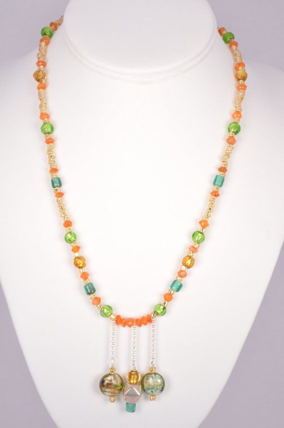 20 Inch Necklace Orange Stone Venetian Green by FiveLeavesFound, $45.00
