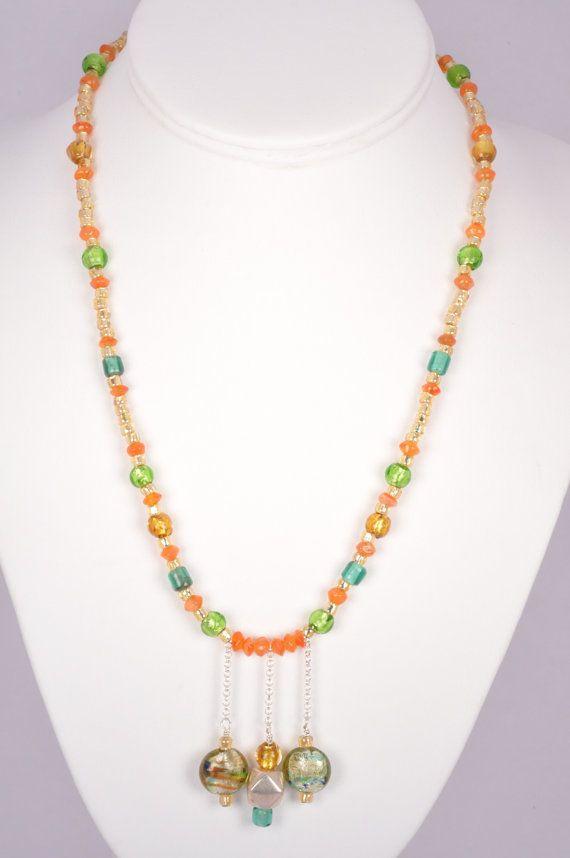 20 Inch Necklace Orange Stone Venetian Green by FiveLeavesFound, $45.00
