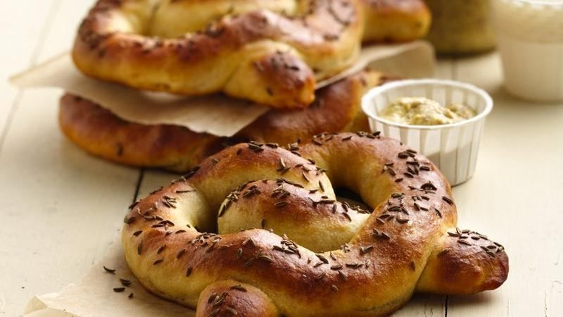 Enjoy these tasty pretzels made using Pillsbury® pizza crust. These bread options are filled with bratwurst and sauerkraut.