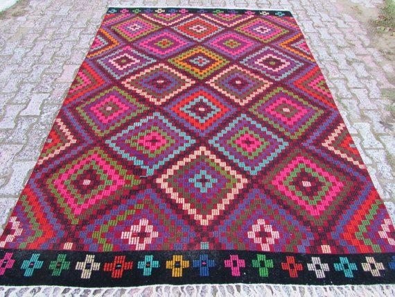 "VINTAGE Turkish Kilim Rug ,Zig Zag Antalya Kilim Rug ,Carpet Natural Wool , Wool Rug,Pink Rug 80"" x 111"" (203cm x282cm)"
