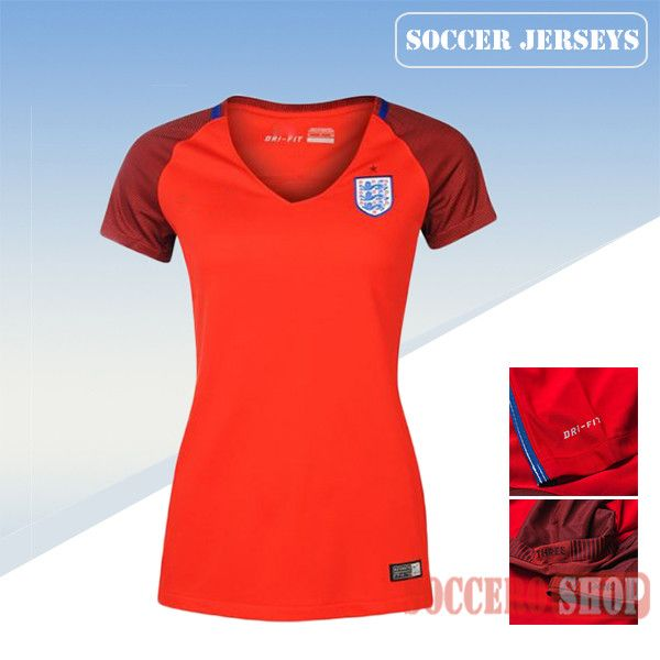 Nice Fitted England Red 2016/17 Away Womens Soccer Jersey Clearance From China