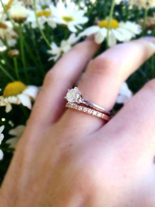Show Me Your Mismatched E Ring And Band Weddingbee Wedding Rings Rose Gold Cheap Wedding Rings Sets Mixed Metal Wedding Rings