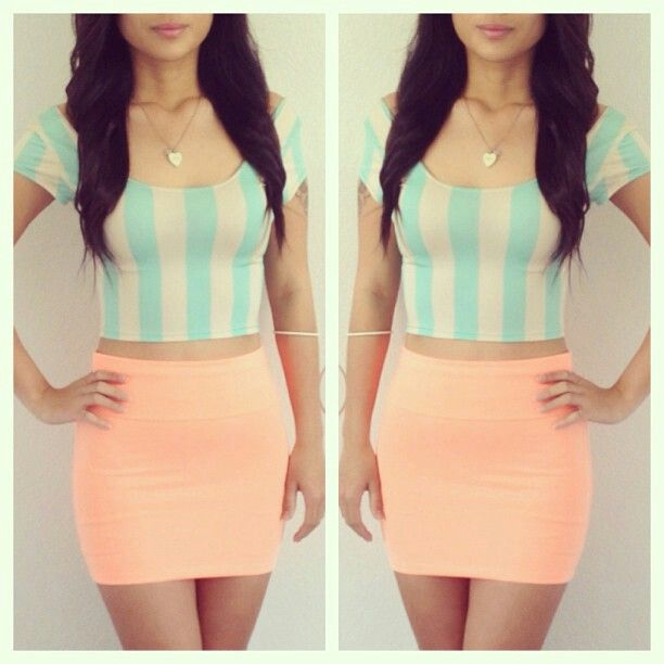 Teal crop top peach mini skirt | in the eye of the beholder ...