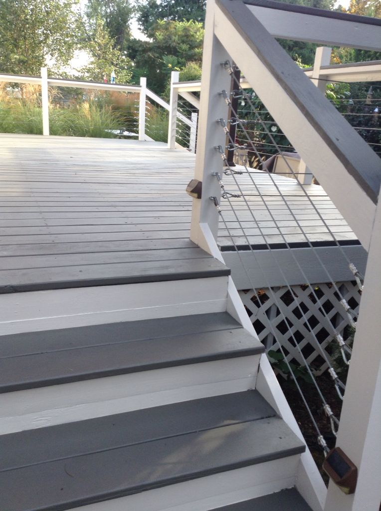 Deck Makeover With Sherwin Williams Flagstone In Solid Stain Cables Were Added By My Husband