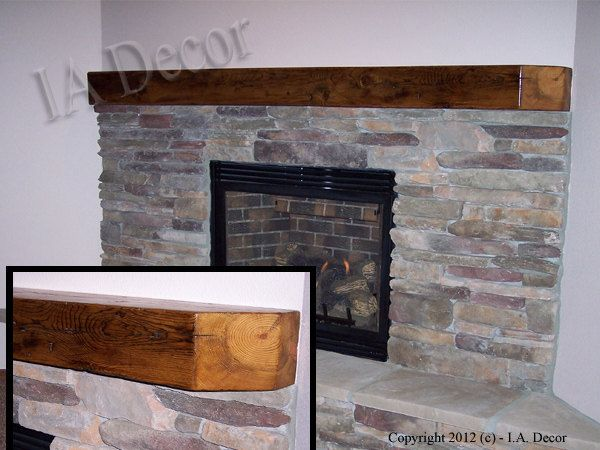 Fireplace mantel and Wood fireplace