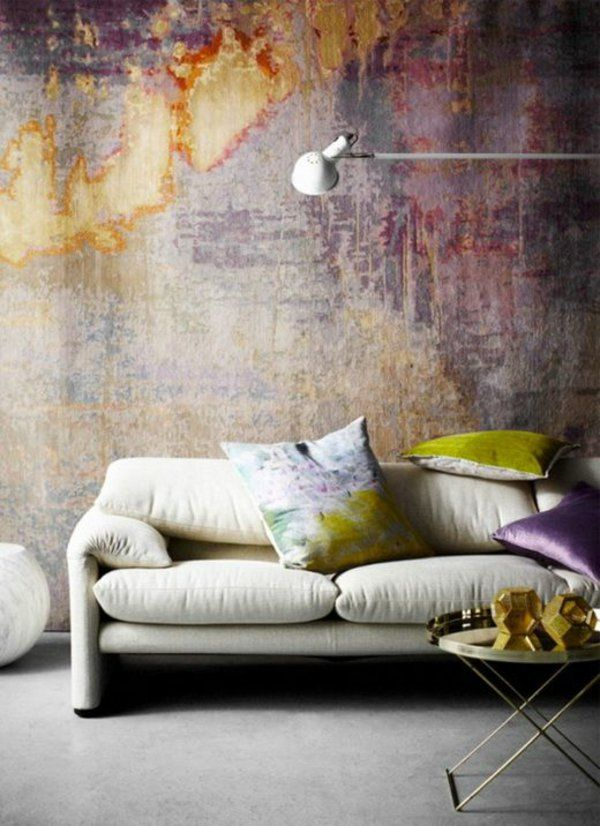 Kreative Wandgestaltung mit Wasserfarben für ein kunstvolles - schöne tapeten fürs wohnzimmer