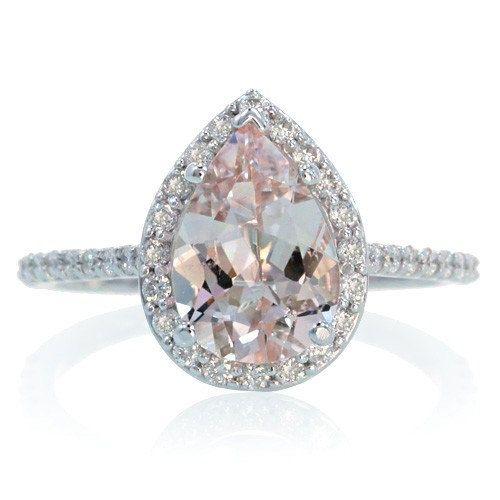 14k white gold pear cut morganite engagement ring shape