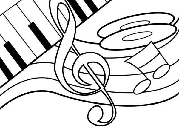 Music Notes on Piano Coloring Page: Music Notes on Piano
