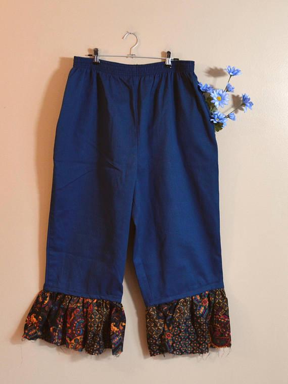 d5c01bf87e2 Wide Leg Pants Women Ruffle Hem Culottes Plus Size Clothing Teal ...